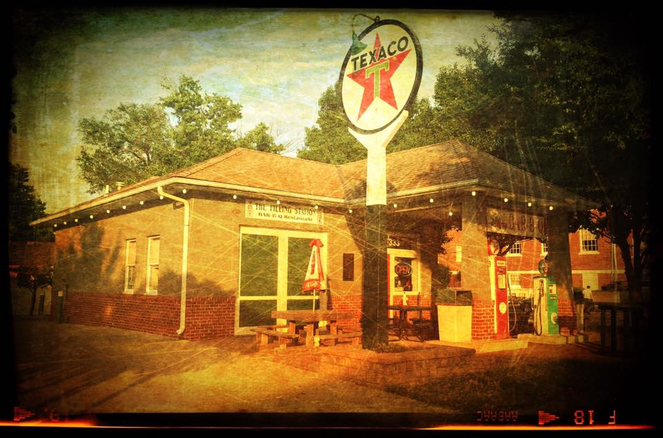 This one has too much junk covering up the essence of the station so it also gets a heavy texture treatment. This one is a barbecue joint these days, in Lees Summit, Missouri.