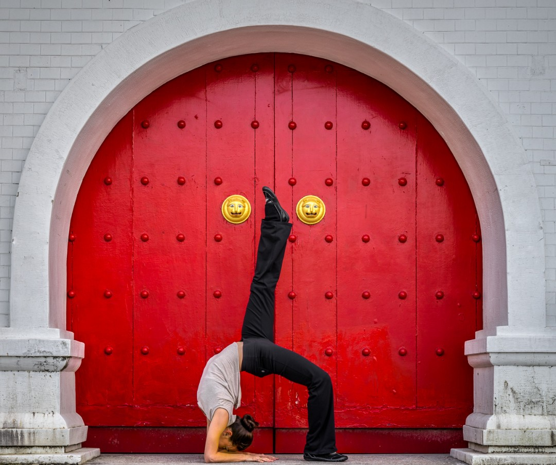 Upward Bow Pose in Taiwan Doorway